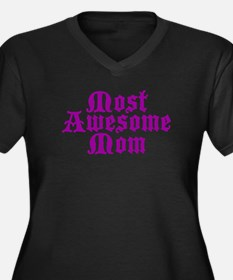 Most Awesome Mom Women's Plus Size V-Neck Dark T-S