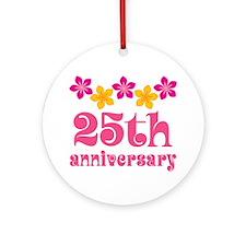 25th Anniversary Gift Cute Ornament (Round)