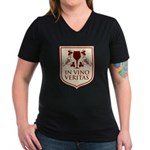 In Vino Veritas Women's V-Neck Dark T-Shirt