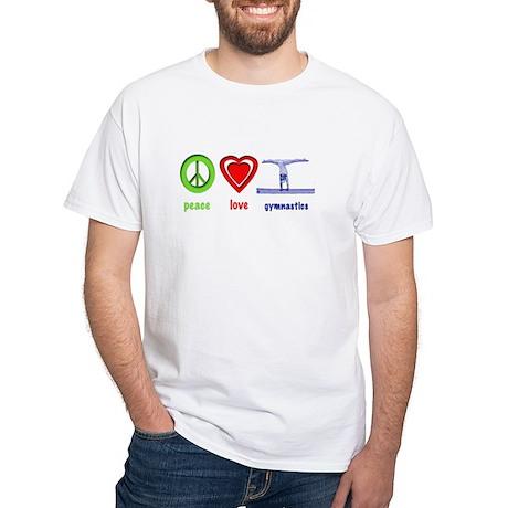 Peace, Love, Gymnastics White T-Shirt