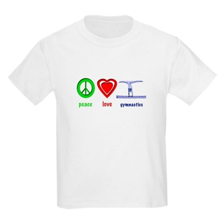 Peace, Love, Gymnastics Kids Light T-Shirt
