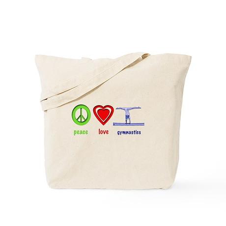 Peace, Love, Gymnastics Tote Bag