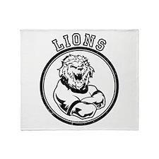 Lions Team Mascot Graphic Throw Blanket