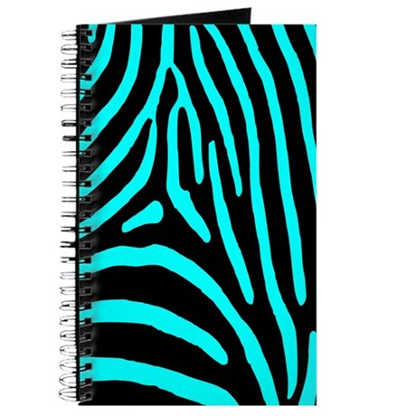 Aqua and Black Zebra Stripes Journal