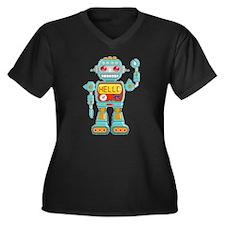 Hello Robo Women's Plus Size V-Neck Dark T-Shirt