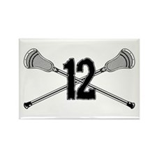 Lacrosse Number 12 Rectangle Magnet
