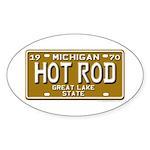 Hot Rod License Plate Oval Sticker