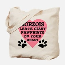 Borzoi Pawprints Tote Bag