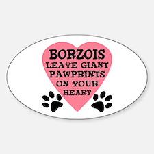 Borzoi Pawprints Sticker (Oval)