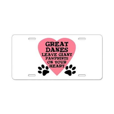 Great Dane Pawprints Aluminum License Plate