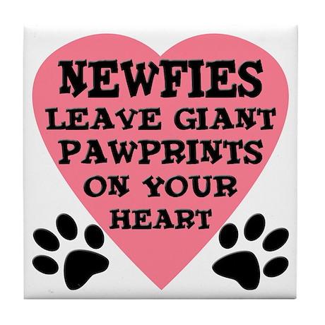 Newfoundland Dog Pawprints Tile Coaster