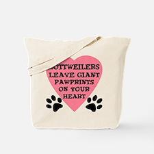 Rottweiler Pawprints Tote Bag