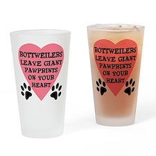 Rottweiler Pawprints Drinking Glass