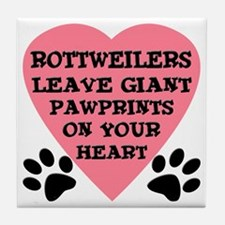 Rottweiler Pawprints Tile Coaster