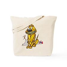 Grinning Dog Dead Chicken Tote Bag