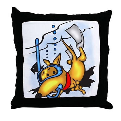 Scuba Diving Dog Throw Pillow