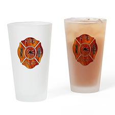 Maltese Cross Fireman Drinking Glass