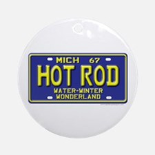 Hot Rod License Plate Ornament (Round)