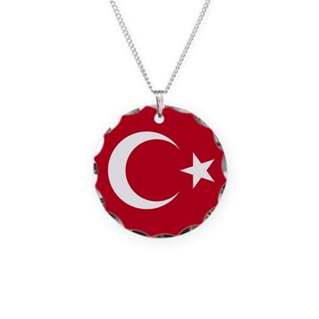 Turkish Flag Necklace Circle Charm