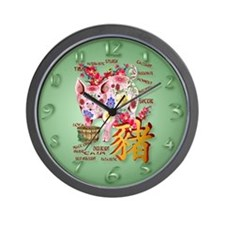 Year Of The Pig In Flowers Wall Clock