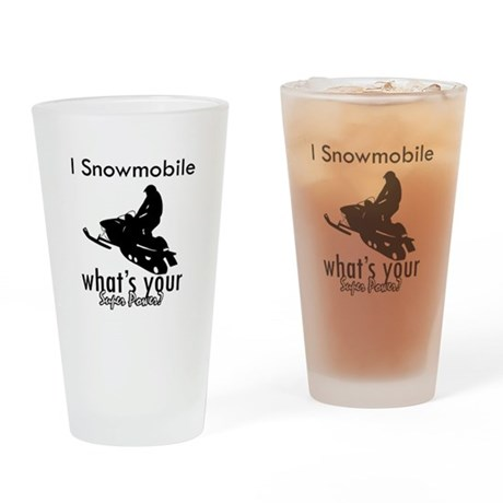 I Snowmobile Drinking Glass