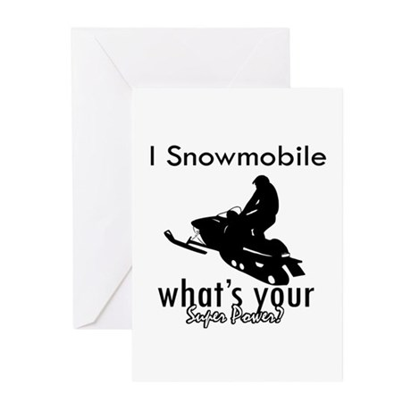 I Snowmobile Greeting Cards (Pk of 10)