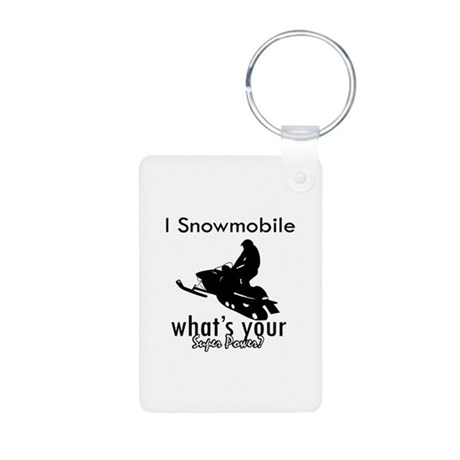 I Snowmobile Aluminum Photo Keychain