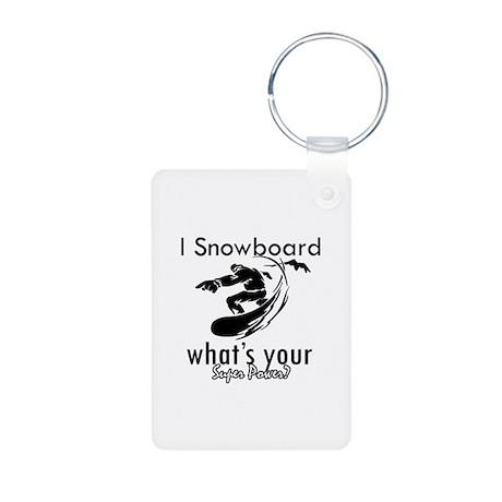 I Snowboard Aluminum Photo Keychain