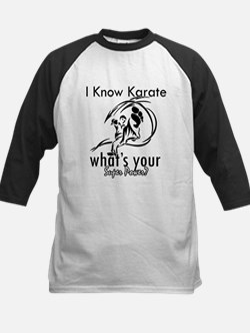 I know karate Kids Baseball Jersey