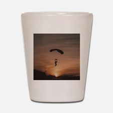 Shot Glass with Sunset Skydiver