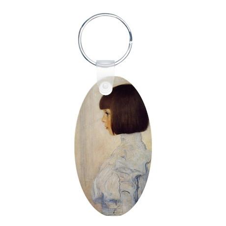 Gustav Klimt Aluminum Oval Keychain