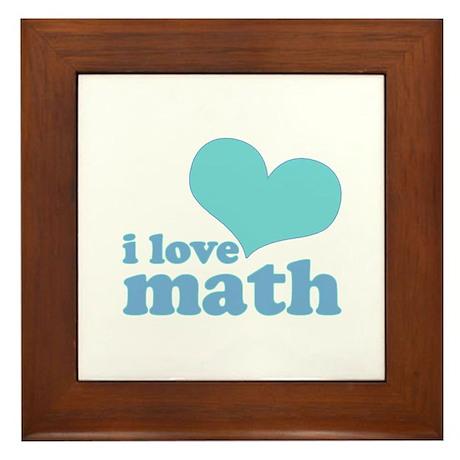 I Love Math (blue) Framed Tile