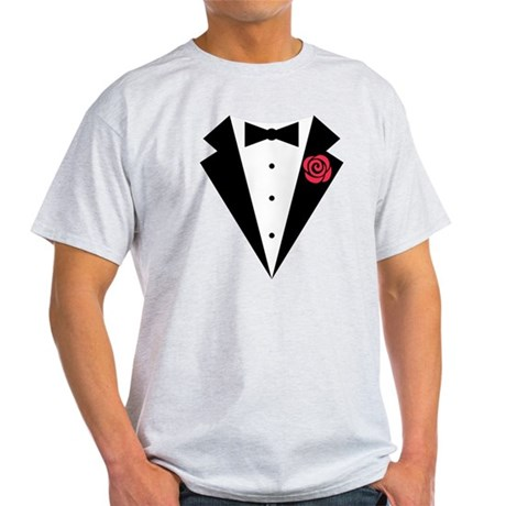 Funny Tuxedo [red rose] Light T-Shirt