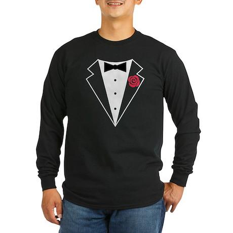 Funny Tuxedo [red rose] Long Sleeve Dark T-Shirt