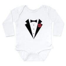 Funny Tuxedo [red rose Long Sleeve Infant Bodysuit