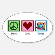 Peace Love Poetry Sticker (Oval)