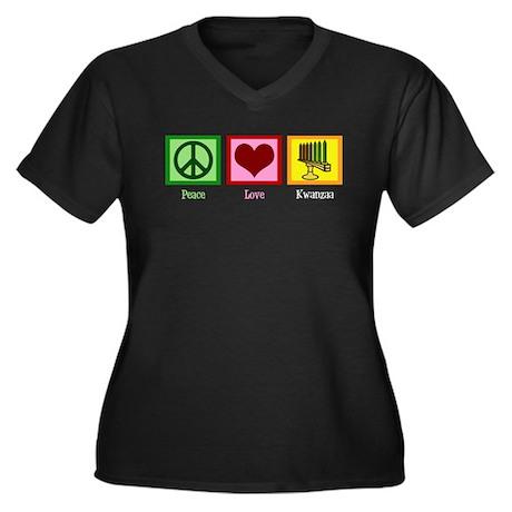 Peace Love Kwanzaa Women's Plus Size V-Neck Dark T