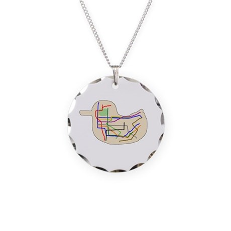 Subway Map Necklace Circle Charm
