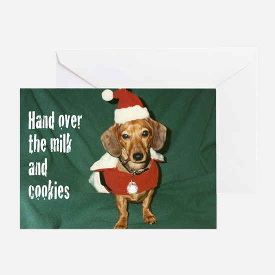 Dachshund Santa Christmas Card (Single)