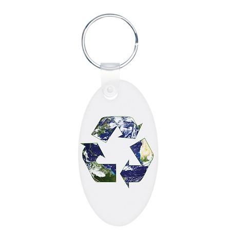 Recycling Symbol Aluminum Oval Keychain