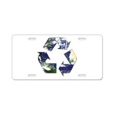 Recycling Symbol Aluminum License Plate