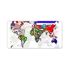World Flags Map Aluminum License Plate