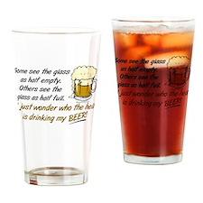 Half Empty Beer Drinking Glass