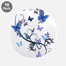 """Blue Butterflies 3.5"""" Button (10 pack)"""