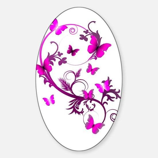 Bright Pink Butterflies Sticker (Oval)