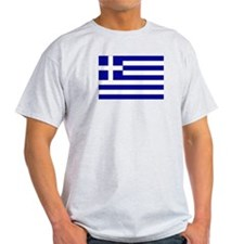 Greek Flag Ash Grey T-Shirt