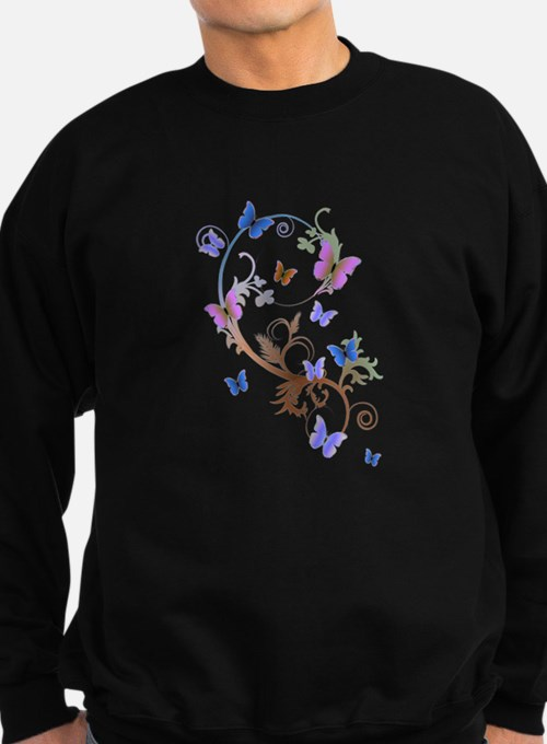 Blue & Purple Butterflies Sweatshirt (dark)