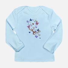 Blue & Purple Butterflies Long Sleeve Infant T-Shi