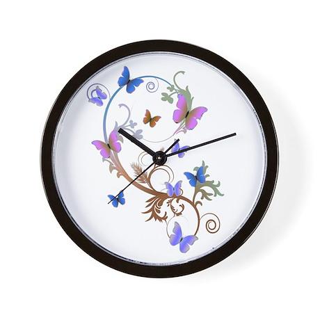 Blue & Purple Butterflies Wall Clock
