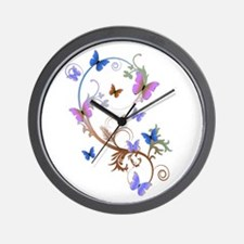 Blue & Purple Butterflies Wall Clock